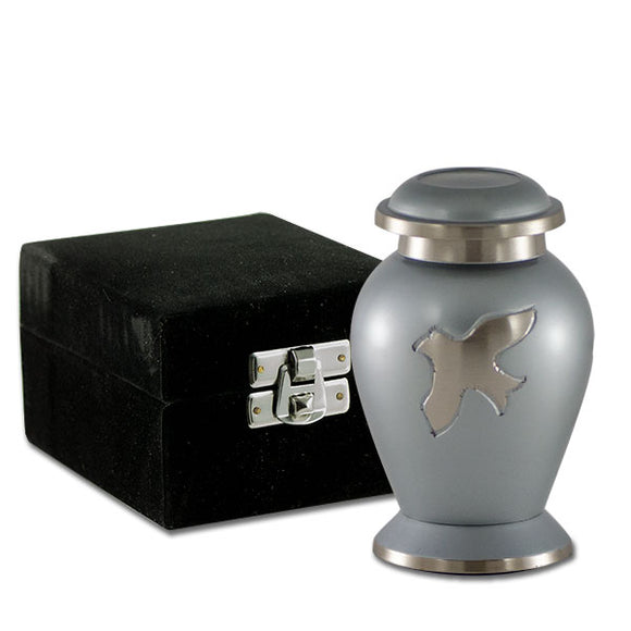 Avondale Pearl Gray With Birds Keepsake Cremation Urn With Velvet Box