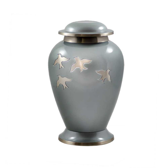 Avondale Pearl Gray With Birds Adult Cremation Urn
