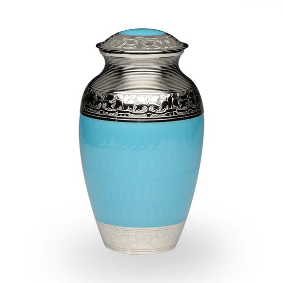 Elegant Baby Blue And Nickle Adult Cremation Urn