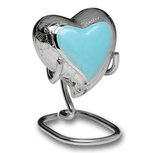 Elegant Baby Blue Heart Keepsake Urn With Box and Stand
