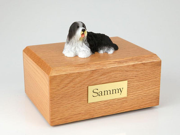 Bearded Collie Laying Figurine Dog Urn