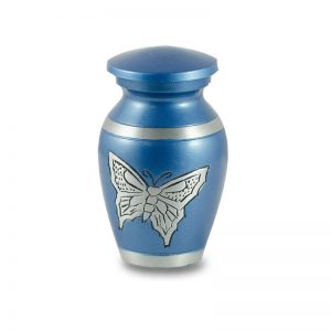 Beautiful Blue With Butterfly Keepsake Cremation Urn