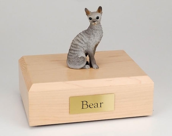 Cat Cornish Rex Sitting (Blue) Figurine Cat Urn
