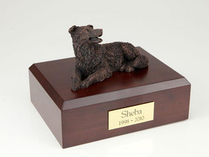 Border Collie Bronze Dog Figurine Pet Cremation Urn