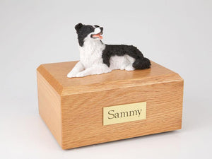 Border Collie Lying Pet Cremation Urn