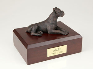 Boxer Ears Down Bronze Dog Figurine Pet Cremation Urn