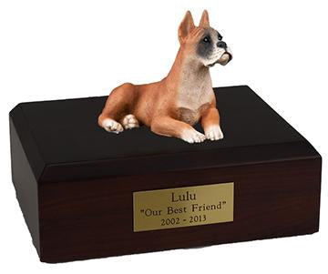 Boxer Laying Ears Up Figurine Dog Urn