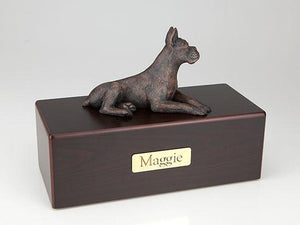 Boxer Ears Up Economy Bronze Series Dog Pet Urn