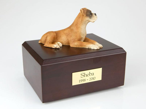 Boxer Laying Ears Down Dog Urn