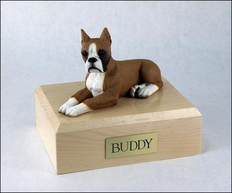 Boxer (Fawn) Laying Figurine Dog Urn