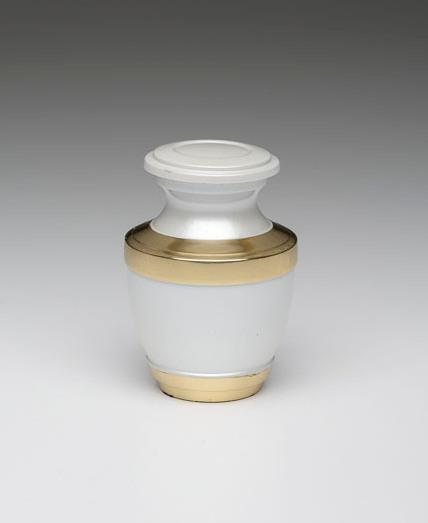 White with Brass Keepsake Cremation Urn