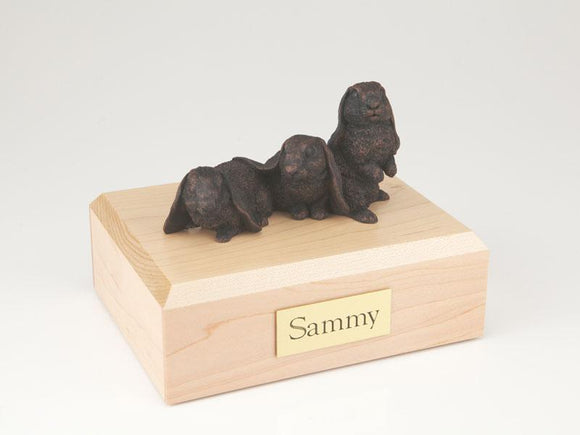 Bunny Lop Ear Rabbits Bronze Figurine Pet Cremation Urn