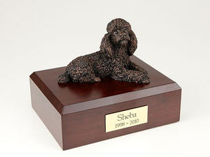 Poodle Laying Bronze Dog Figurine Pet Cremation Urn