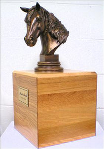 Bronze and Wood Horse Cremation Urn
