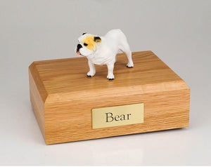 Bulldog (White) Figurine Dog Cremation Urn
