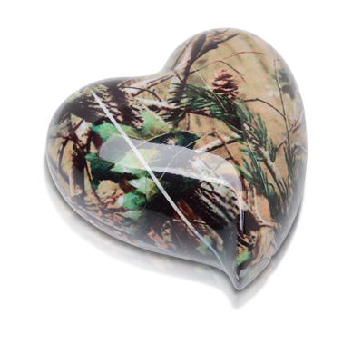 Camouflage II Cremation Keepsake Heart Urn