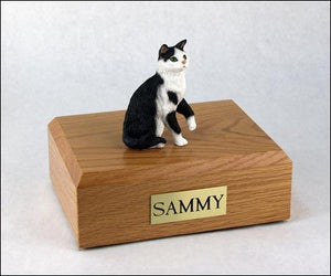 Cat Tabby (Black & White) Short Hair Sitting Up Cat Urn