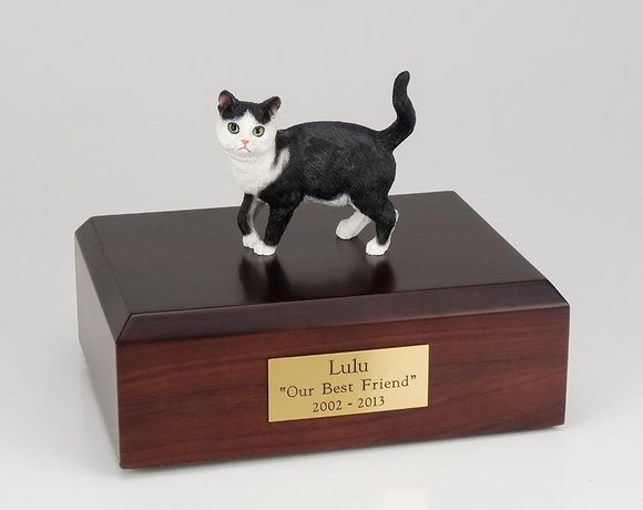 Cat Tabby Black and White Short Hair Figurine Cat Urn Ever My Pet