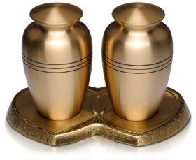 Classic Brass Companion Cremation Urn Set on Double Heart Base