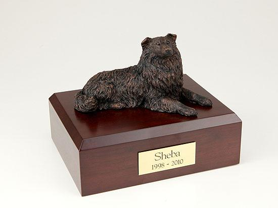 Collie Bronze Dog Figurine Pet Cremation Urn