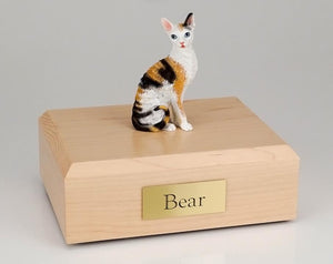 Cat Cornish Rex Sitting (Tort & White) Figurine Cat Urn