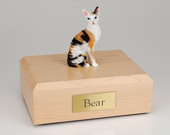 Cat Cornish Rex Sitting Tort and White Figurine Cat Urn Ever My Pet