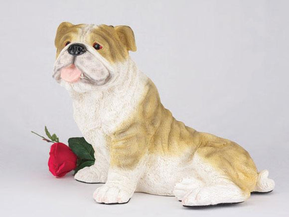 Companion Bulldog Brindle and White Dog Pet Urn