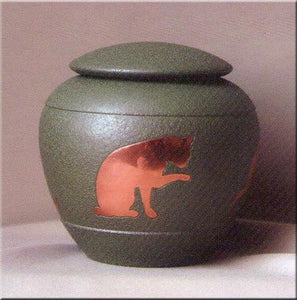 S-Fern Inlaid Brass Cat Pet Urn