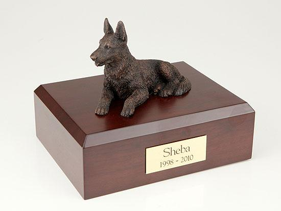 German Shepherd Bronze Dog Figurine Pet Cremation Urn