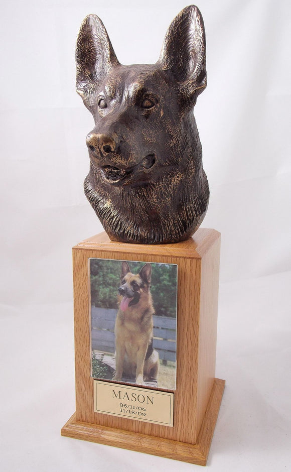 German Shepherd Bronze Dog Oak Tower Pet Urn With Photo Holder