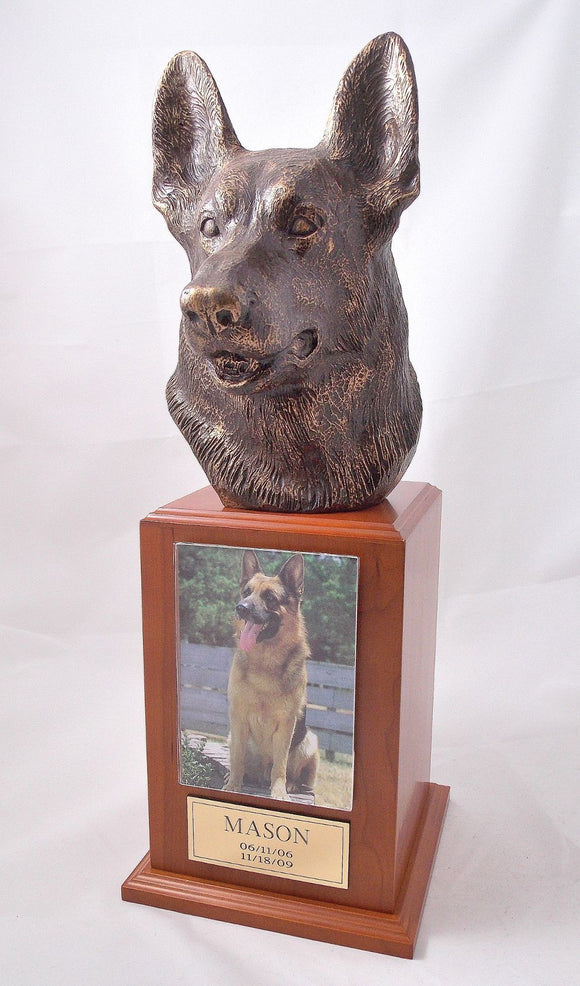 German Shepherd Bronze Dog Cherry Tower Pet Urn With Photo Holder