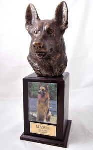 German Shepherd Bronze Dog Walnut Tower Pet Urn With Photo Holder