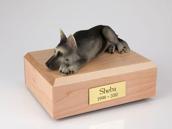German Shepherd Laying  Black and Silver Figurine Dog Urn Ever My Pet
