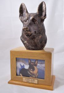German Shepherd Bronze Dog Oak Picture Pet Urn
