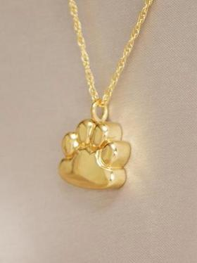 Paw Pendant Cremation Jewelry Urn Gold Plated