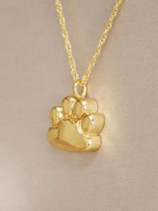 Paw Pendant Cremation Jewelry Urn Gold Plated With Engraving