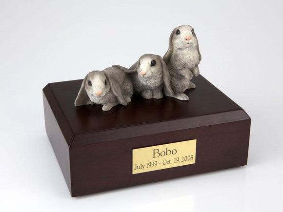 Bunnies Lop Ear Rabbits (Gray) Figurine Pet Cremation Urn