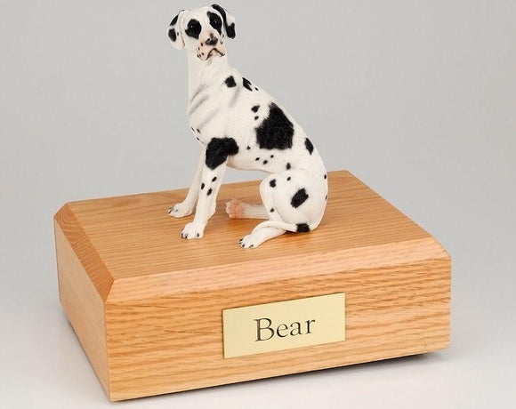 Great Dane Ears-Down Harlequin Figurine Dog Urn Ever My Pet