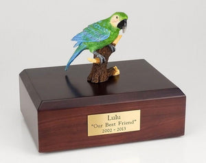 Parrot Green Pet  Bird Figurine Urn Ever My Pet