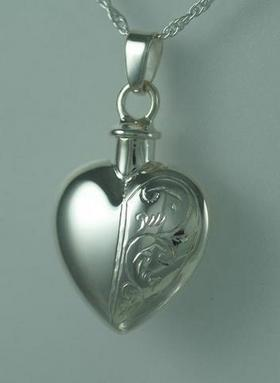 Half Etched Sterling Heart Cremation Jewelry Pendant
