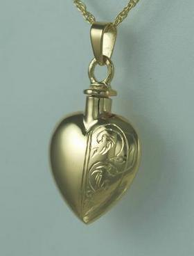 Half Etched Gold Plated Heart Cremation Jewelry Pendant