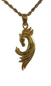 Horse Spirit Gold Plated Pendant Cremation Jewelry Urn