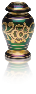 Iridescent Green Cremation Shamrock Keepsake Urn