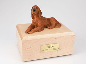 Irish Setter Laying Figurine Dog Urn