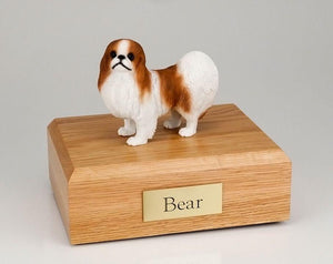 Japanese Chin Red and White Figurine Dog Urn