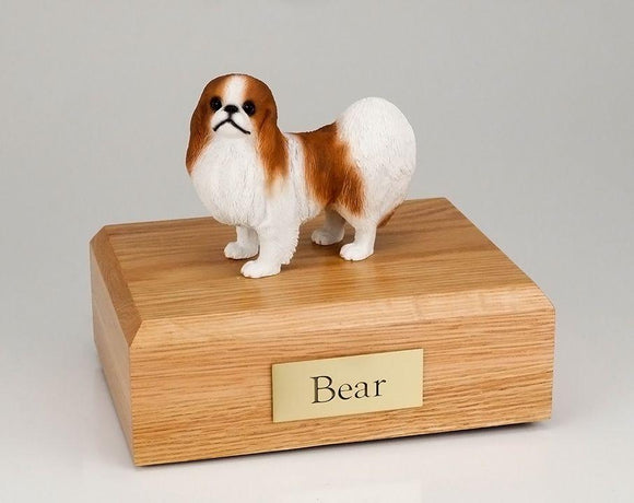 Japanese Chin (Red& White) Figurine Dog Urn