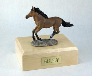 Keepsake With Bay Horse (Running) Equine Urn