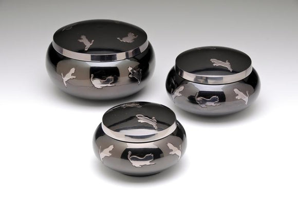 Cats Playing Shiny Black Cat Pet Urn Small