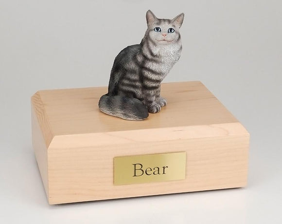 Cat Maine Coon (Silver Tabby) Sitting Figurine Cat Urn
