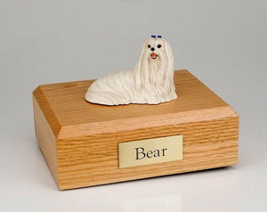 Maltese Laying Figurine Dog Urn Ever My Pet